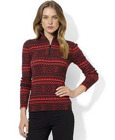 Lauren Ralph Lauren Top, Long-Sleeve Fair-Isle Zippered Knit - Womens - Macy's