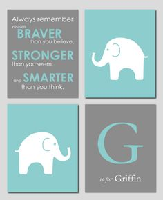 Teal and Gray Modern Nursery Set - Always Remember You are Braver - Initial/Monogram - Elephant Prints - Set of four 8x10s via Etsy