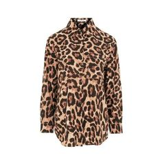 Animal Print Blouse by Glamorous (1,910 DOP) ❤ liked on Polyvore featuring tops, blouses, brown, brown blouse, topshop blouses, leopard print blouse, animal print tops and leopard top