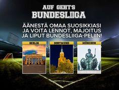 Osallistu kilpailuun ja voita lennot, majoitus ja liput #Bundesliiga -otteluun. Äänestä kaupunkia, jossa on mielestäsi paras joukkue ja ottelutunnelma sekä mukavaa lomatekemistä.