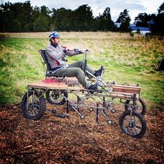 A pedal-powered farming tractor with electrical assistance, made for small and medium sized vegetable farms.