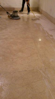 proceso de lavado y sellado piso de Mármol