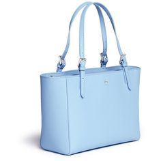 Tory Burch 'York' small leather buckle tote ($295) ❤ liked on Polyvore featuring bags, handbags, tote bags, blue handbags, tory burch handbags, tory burch tote bag, tory burch tote and tory burch purse