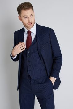Versatile and stylish, our diverse selection of men's three piece suits are suitable for a variety of occasions, whether it be office wear, a formal event or night on the town. Three Piece Suit, 3 Piece Suits, Mens Fashion Suits, Mens Suits, Male Fashion, Fashion Outfits, Discount Suits, Charcoal Suit, Plain White Shirt