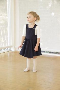 The Tuscany Pinafore in french navy -ballet style - kids ballet wear - girls dress - girls skirt - kids fashion - girls fashion - kids style - pinafore - girls pinafore - Lottie Clothing - denim skirt - twirl skirt - girls denim skirt - full circle skirt