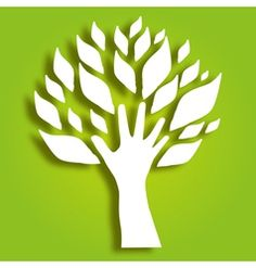 decorative hand tree vector