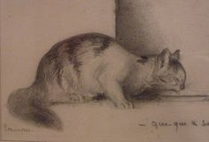 Gustave Moreau: sketch of a cat drinking from a dish