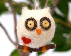 Love Owl Ornament Christmas Gift Wool Needle Felt Decorations Woodland Waldorf Cute Bird Fairytale Baby Nursery White Fairyfolk. $18.00, via Etsy.