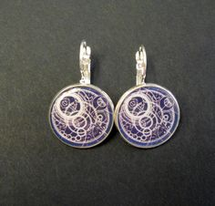 Dr Who Gallifreyan Time Lord Map 18mm Silver Plated Drop Style Earrings. $16.00, via Etsy.