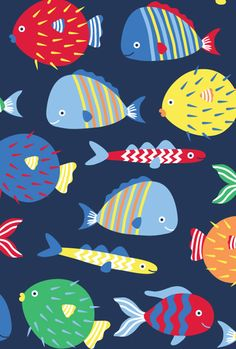 Print & Pattern Designers for Hire Directory has a new artist to introduce this week. Hollie Holden is predominantly a childrenswear. Abstract Illustration, Pattern Illustration, Illustration Artists, Fish Patterns, Print Patterns, Pattern Print, Fish Drawings, Fish Print, Fish Design