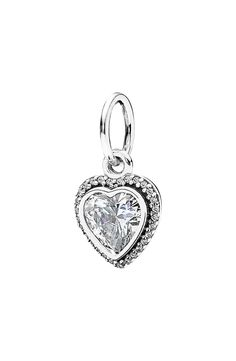 PANDORA 'Sparkling Love' Heart Dangle Charm