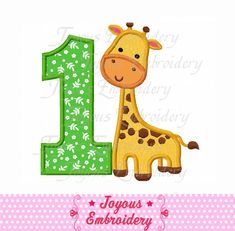 Instant Download Giraffe Number   Embroidery