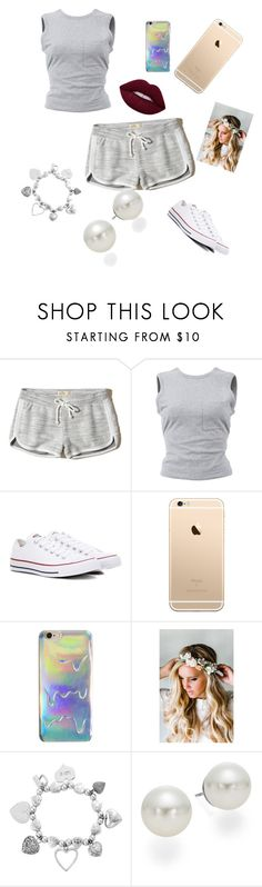 """Chilling with bae😘😍❤️"" by khloem-1 ❤ liked on Polyvore featuring Hollister Co., T By Alexander Wang, Converse, Emily Rose Flower Crowns, ChloBo and AK Anne Klein"