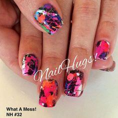 Paint Splatter Nails #nailart #naildesigns #nailideas - Nail Art by NailHugs