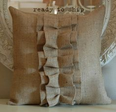 Sewing Pillows Burlap Ruffle pillow cover - The measurement of the pillow cover is inches.There is an invisible zipper.This is the price for only the pillow cover. Burlap Pillows, Sewing Pillows, Decorative Pillows, Throw Pillows, Burlap Projects, Burlap Crafts, Cushion Covers, Pillow Covers, Sewing Crafts