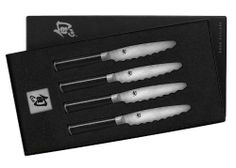Shun Classic 4 Piece Ultimate Steak Knife Set by Shun. $359.95. Set of 4 5-inch steak knives. Comfortable D-shaped Pakkawood handle; steel end-cap; washing by hand recommended. Blade with 33 layers of stainless steel for a rust-free Damascus look. Measures approximately 11-1/2 by 7-1/5 by 2 inches; limited lifetime warranty. Precision-forged in Japan by renowned blade manufacturer KAI. Friends and guests will enjoy steak fresh off the grill even more with the right cuttin...