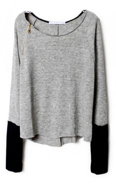 To find out about the Light Grey Zippered Curved Hem Jumper at SHEIN, part of our latest Sweaters ready to shop online today! Looks Style, Style Me, Hair Style, Pullover Shirt, Pullover Sweaters, Baggy Sweaters, Jumper Shirt, Oversized Sweaters, Raglan Shirts