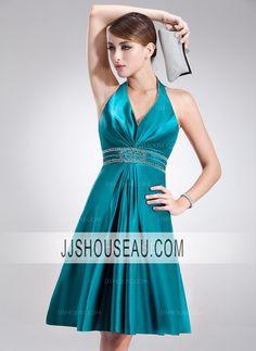 A-Line/Princess Halter Sleeveless Knee-Length Regular Straps Holiday Dress
