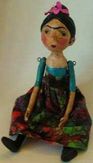 Frida art doll.  (students could create a line of artists dolls: research the artist bio and design a shoe box as packaging to market the doll and line...some group and some individual work)