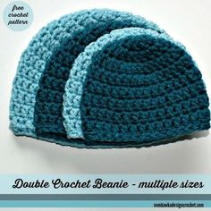 Hats That Fit! You will love this hat pattern - it is easy to follow - works up quickly and is designed using Red Heart With Love, worsted weight yarn. The Double Crochet Beanie Pattern is available in sizes Preemie to Adult and is a FREE Pattern! Perfec