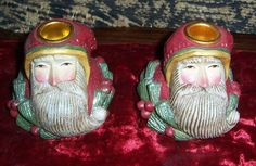 Pair Midwest of Cannon Falls Pam Schifferl Porcelain Candle Holders- Santa Face