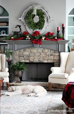 Christmas Tree Mantel Plaid Decor at Christmas Fireplace, Christmas Mantels, Plaid Christmas, All Things Christmas, Christmas Home, Christmas Holidays, Fireplace Mantel, Christmas Trees, Fireplace Stone