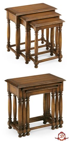 Did you know that nesting tables came from the quartetto table invented by Thomas Sheraton on the 18th century? They were comprised of stacking tables that graduated in size and were stored together until needed for needlepoint or checkers. by Jonathan Charles