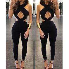 Sexy Fashion Backless Hollow Out Cross Halter Tight Dress