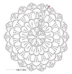 from AO - Bag Arrange 100 Motifs Crochet Mandala Pattern, Crochet Diagram, Crochet Chart, Crochet Doilies, Crochet Flowers, Crochet Stitches, Crochet Wool, Crochet Cup Cozy, Crochet Round