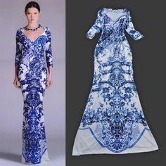 High Street Fashion Women's Blue and White Porcelain Sexy V-Neck Floor Length Mermaid Dress Sheath Jersey Silk Cocktail Dress $90.94