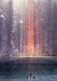 Marc Simonetti Digital Painting Dune Messiah, Muad'hib throne room - Mode Tutorial and Ideas Fantasy City, Fantasy Castle, Fantasy Places, Fantasy Art Landscapes, Fantasy Landscape, Landscape Art, Fantasy Concept Art, Fantasy Artwork, Art Environnemental