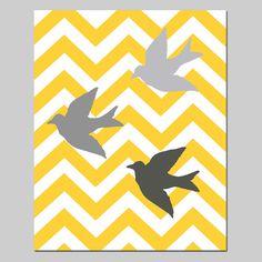 SALE - Chevron Birds- 8x10 Bird Silhouette Print - Modern Nursery Decor - Marigold Yellow Orange, Gunmetal, Gray, Pale Gray, White