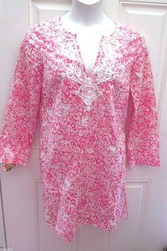 WOMENS DESIGNER LILLY PULITZER JUBILEE/ ELISABETH HASSELBECK TUNIC SHIRT DRESS S #LillyPulitzer #ShirtDressTUNIC #WeartoWork