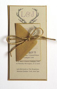 Rustic Antler Winter Woodland Wedding Invitation by STNstationery, £2.00