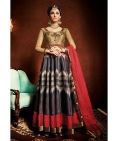 New  Golden & Red  Digitally Printed with Heavy Hand Embroidery Gown ..