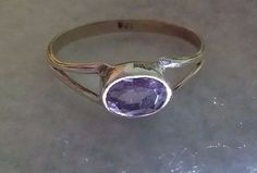 Faceted Amethyst Stone Ring Size 8 Silver Fashion Jewelry 925 Silver Setting #Solitaire
