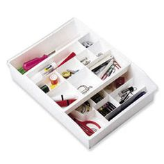 Everything Organizer by The Container Store...what I use in my own kitchen junk drawer...everything has a place and always makes it back to it's home!!