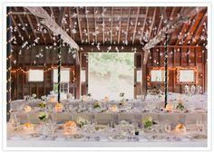 hanging paper birds and crisp white linens