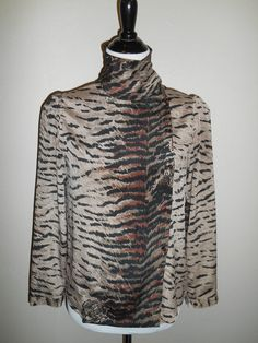 Vintage animal print tiger blouse top shirt by ATELIERVINTAGESHOP