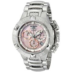 Invicta 17220 Women's Subaqua Noma V Pink MOP Dial Steel Bracelet Chronograph Dive Watch - Discount Watch Store Stainless Steel Jewelry, Stainless Steel Watch, Skeleton Bracelet, Brand Name Watches, Discount Watches, Pink Watch, Watch Sale, Quartz Watch, Chronograph
