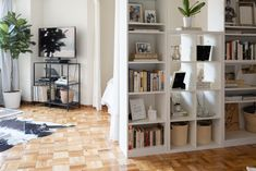 This Small Studio Apartment Has an Easy, Elegant Divider Solution - partial wal. This Small Studio Apartment Has an Easy, Elegant Divider Solution – partial wall/room divider ma Built In Furniture, Small Spaces, Studio Floor Plans, Closet Units, Walls Room, Ikea Billy Bookcase, Home Decor, Studio Apartment Layout, Apartment Layout