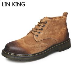 6a0d9ea126bd LIN KING New Men Work Safety Boots Brogue High Top Casual Ankle Boots  Vintage Martin Boots Lace Up Round Toe Male Desert Boots