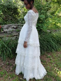 LACE WEDDING DRESSVintage Lace Wedding Gown by camelotvintage