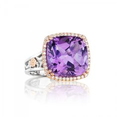 Tacori+#SR100P01+-+Deep+purple+amethyst+has+a+thin+frame+of+diamonds+set+in+18k+pink+gold+for+a+feminine+look+with+modern+glamour.+Accentuated+with+a+slender+foundation+and+crescent+details,+the+Tacori+gem+seal+is+incorporated+for+that+Tacori+touch.