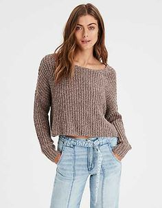 da13eeced858b AE Cropped Ribbed Pullover Sweater - Pullover Sweaters