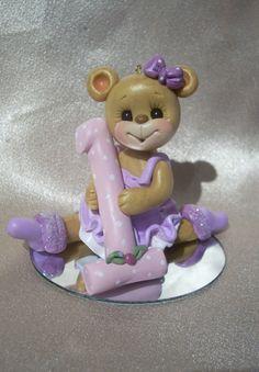monkey birthday cake topper Christmas ornament polymer by clayqts