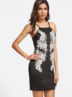 Vestido de croché con aplicación de flor-(Sheinside)