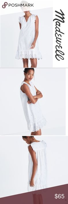 Madewell eyelet garden dress | xs   NEW Brand new with with tags!! Adorable white eyelet dress from Madewell!!  Nonwaisted - falls 35 1/8 from highest point of bodice. Slips over head and has flutter sleeves!! Perfect for the summer! Size extra small Madewell Dresses