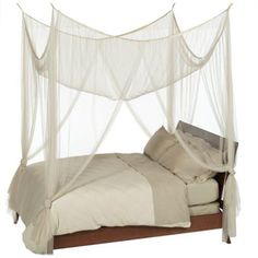 Boho Style Heavenly 4-Post Canopy, Ecru Color, Bohemian Canopy Fits all bed sizes - Free Shipping     Straight panels for airy yet masculine look Suspends from