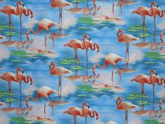 REMNANT--Flamingo Print Pure Cotton Fabric from Elizabeth Studio--1 & 5/8 Yard. $9,50, via Etsy.